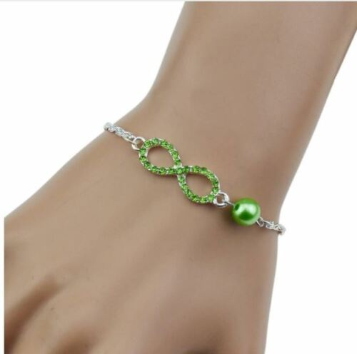 Bracelet femme Luxe strass INFINITY Zirconium Plaqué Argent infini Vert d46