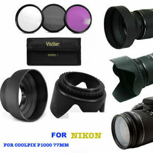 LENS-HOOD-amp-3HD-FILTERS-UV-CPL-FLD-KIT-FOR-NIKON-COOLPIX-P1000-2-3-DAY-DELIVERY