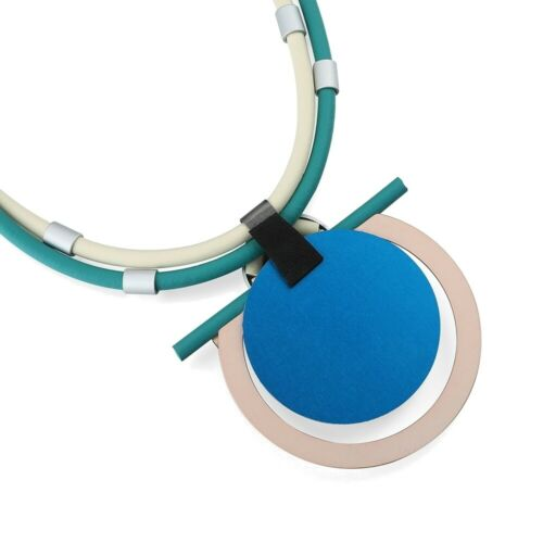 Magnetic Fashion Jewellery Chunky Neoprene Rubber Necklace in Vanilla and Mi...
