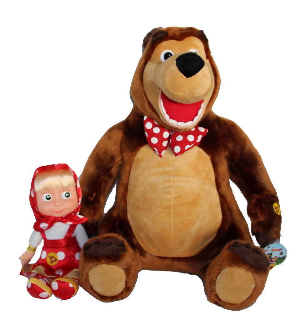 Mascha und und und der Bär SET 29cm Mascha Puppe in ROT + 48cm Bär XXL Masha i Medved 476821
