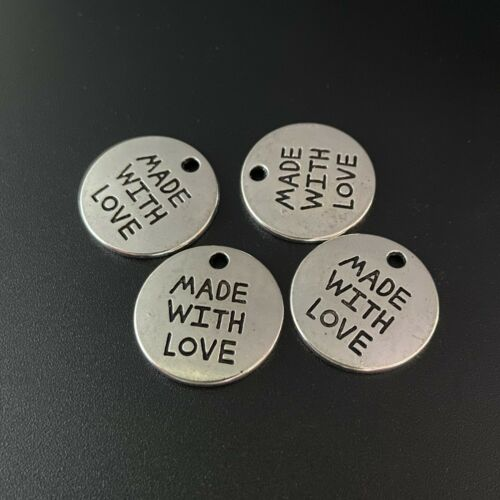 8pcs Round Charms MADE WITH LOVE Words Old Silver Beads DIY Pendant 20*20mm