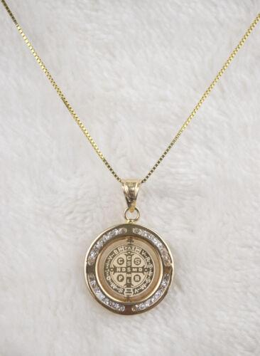 San Benito Medalla Gyrator Religious 14k Real Gold Pendant Charm Saint Benedict