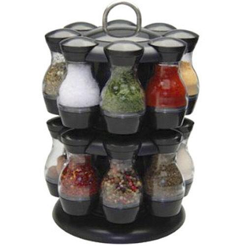 16 Jar Rotating Spinning Carousel Spice Herb Rack Jars Revolving - Black - NEW
