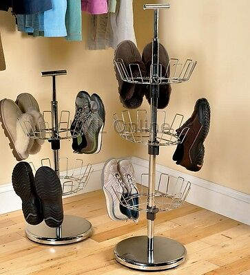 New Revolving 3 Tier Rotating Metal Shoe Tree Storage Rack Holds Up To 18 Pairs