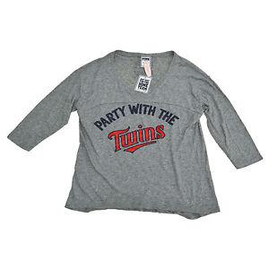 Victoria-039-s-Secret-Pink-T-Shirt-Minnesota-Twins-Graphic-Logo-Tee-Mlb-Baseball-Vs