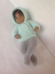 Mint green top, hat and gray/white striped tights for baby Sasha doll - Italia - Mint green top, hat and gray/white striped tights for baby Sasha doll - Italia