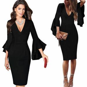 Women-039-s-Summer-Deep-V-Neck-Ruffle-Bell-Sleeves-Casual-Party-Evening-Pencil-Dress