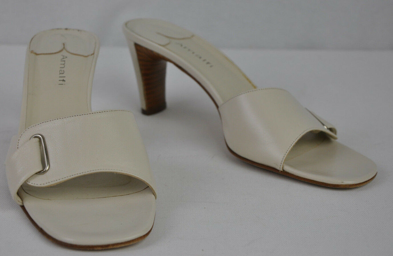 9C Amalfi Nordstrom Cream Leder Open Toe Slip On Slide Mule Heel Wide Sz