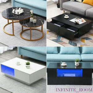 Details About Modern 124 Drawers Coffee Table With Led Storage Living Room Office Furniture
