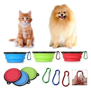 3 Portable Travel Collapsible Foldable Pet Dog Food & Water Bowls Dish BPA-Free