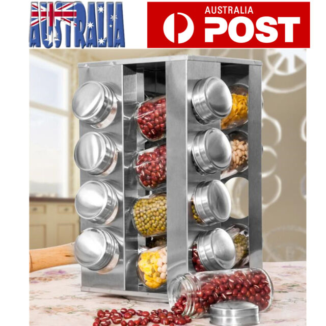 Rotating Spice Rack 16 Jar Kitchen Seasoning Rack Stainless Steel Stand Holder