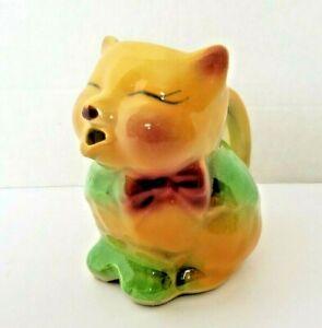 Shawnee Puss N Boots Pitcher Cat Art Pottery Vintage creamer yellow MCM green