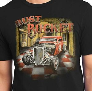 f14aae5709a Hot Rod T Shirts Rust Bucket Rat Rod Vintage Junkyard Mens Big and ...