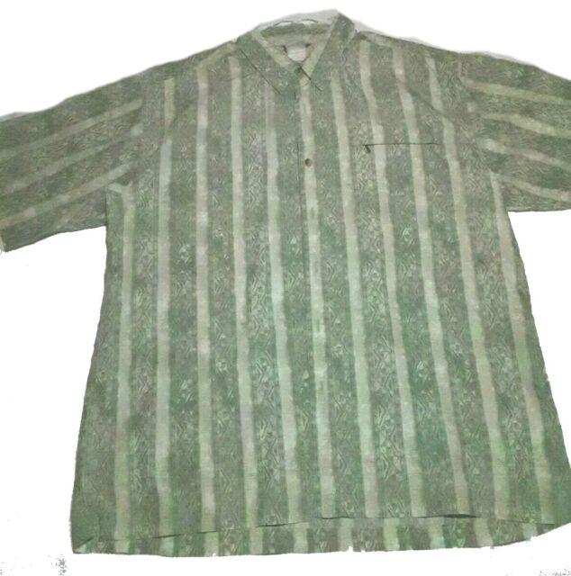 The North Face Mens Button Up Zipper Pocket Casual Dress Shirt L Green Pattern