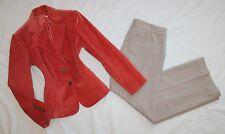 ANN TAYLOR Size 6P / 8P Women's Pant Suit Beige Orange PERFECT Petite