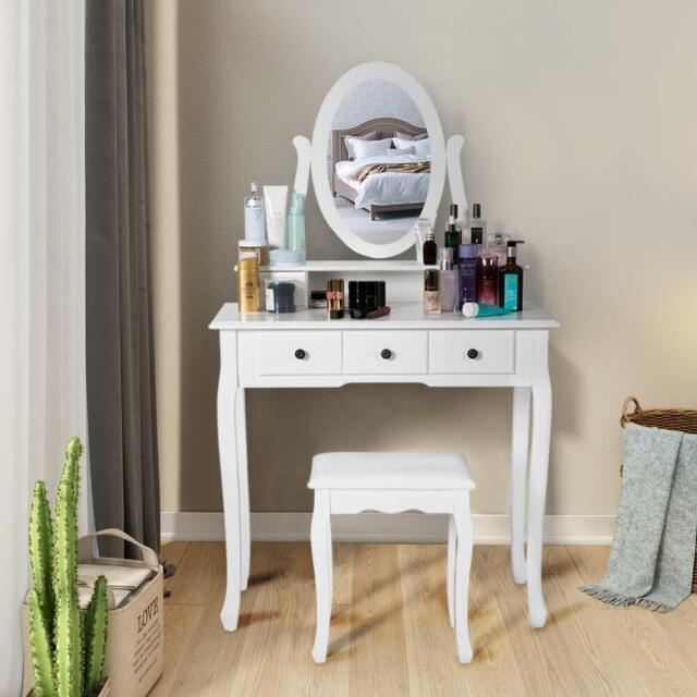 Wood Home Princess Makeup Dressing Vanity Table, Stool And Mirror Set  Bedroom