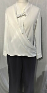 Ladies-Plain-Wrap-Long-Sleeved-Blouse-Top-White-Sizes-8-10-12-14-16-New-Branded