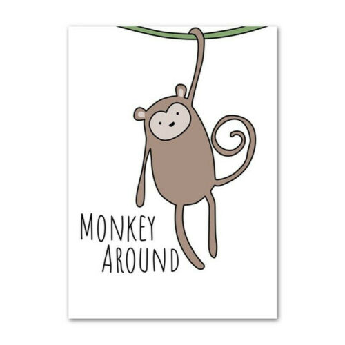 Cute Animal Poster Canvas Art Nordic Kids Room Painting Wall Hanging Ornament