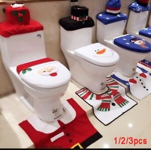 1-2-3pcs-Christmas-Santa-Claus-Toilet-Seat-Lid-Cover-Xmas-Bathroom-Rug-Mat-Decor