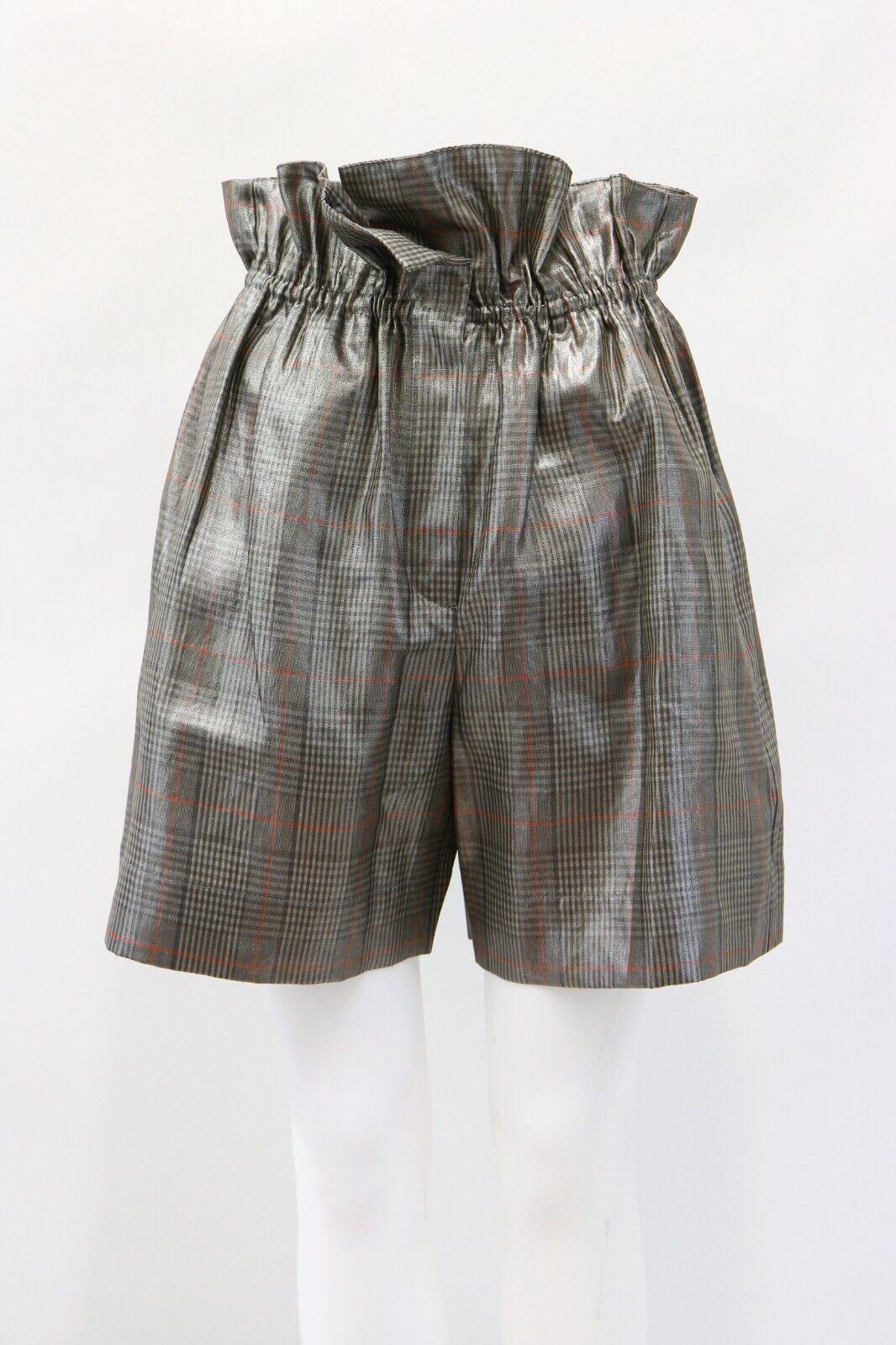NWT  1075 Brunello Cucinelli damen 100% Linen Metallic Plaid Shorts 42 6US A186