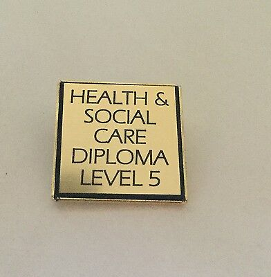 4 OR OWN TEXT GILT PIN BROOCH BADGE 3 NVQ Qualification Awards 1,2 ENGRAVED