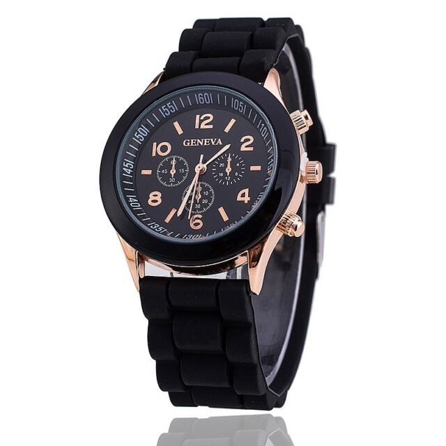 Retro Geneva Chronograph Dial Design  Black Strap Wrist Watch for Girls Women !!