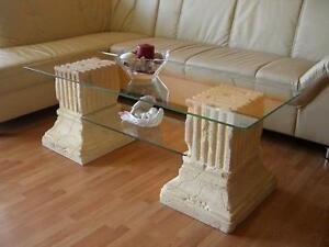 Antiker glas stein marmor tisch couchtisch wohnzimmertisch for Tisch rund marmor