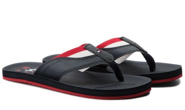 e60e33bd6cb88d TOMMY HILFIGER shoes men s flip flops leather fabric sandals slippers clogs  sea