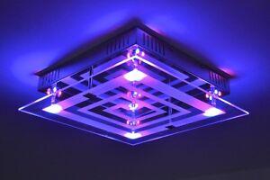 Plafoniera Led Rgb : Plafoniera led design variacolore con telecomando vetro e metallo