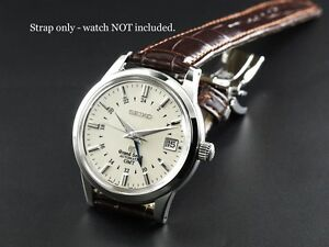 fff517cb35c LEATHER DEPLOYMENT WATCH STRAP FOR GRAND SEIKO DRESS MODELS 18 20 22 ...