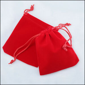 lot-of-25-50-100-Red-4-034-x-6-Jewelry-Pouches-Velvet-Gift-Bags-Wedding-Favors