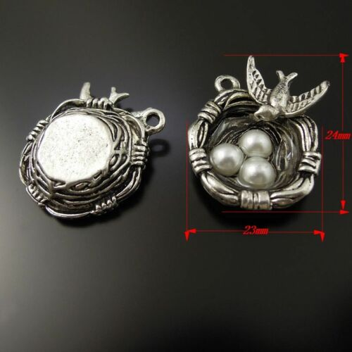 10pcs Antique Silver Alloy Swallow And Eggs Bird Nest Pendant Charms Jewelry DIY