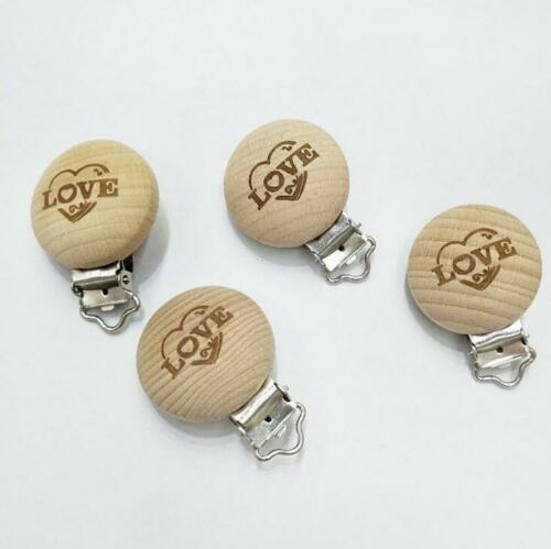 2X Natural No Paint Wood Dummy Pacifier Clips Lettering Baby Teether Toy 35mm