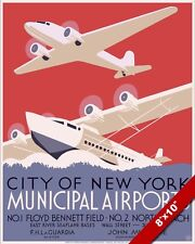 NEW YORK AIRPORT VINTAGE 1930'S AVIATION POSTER PAINTING REAL CANVASART PRINT