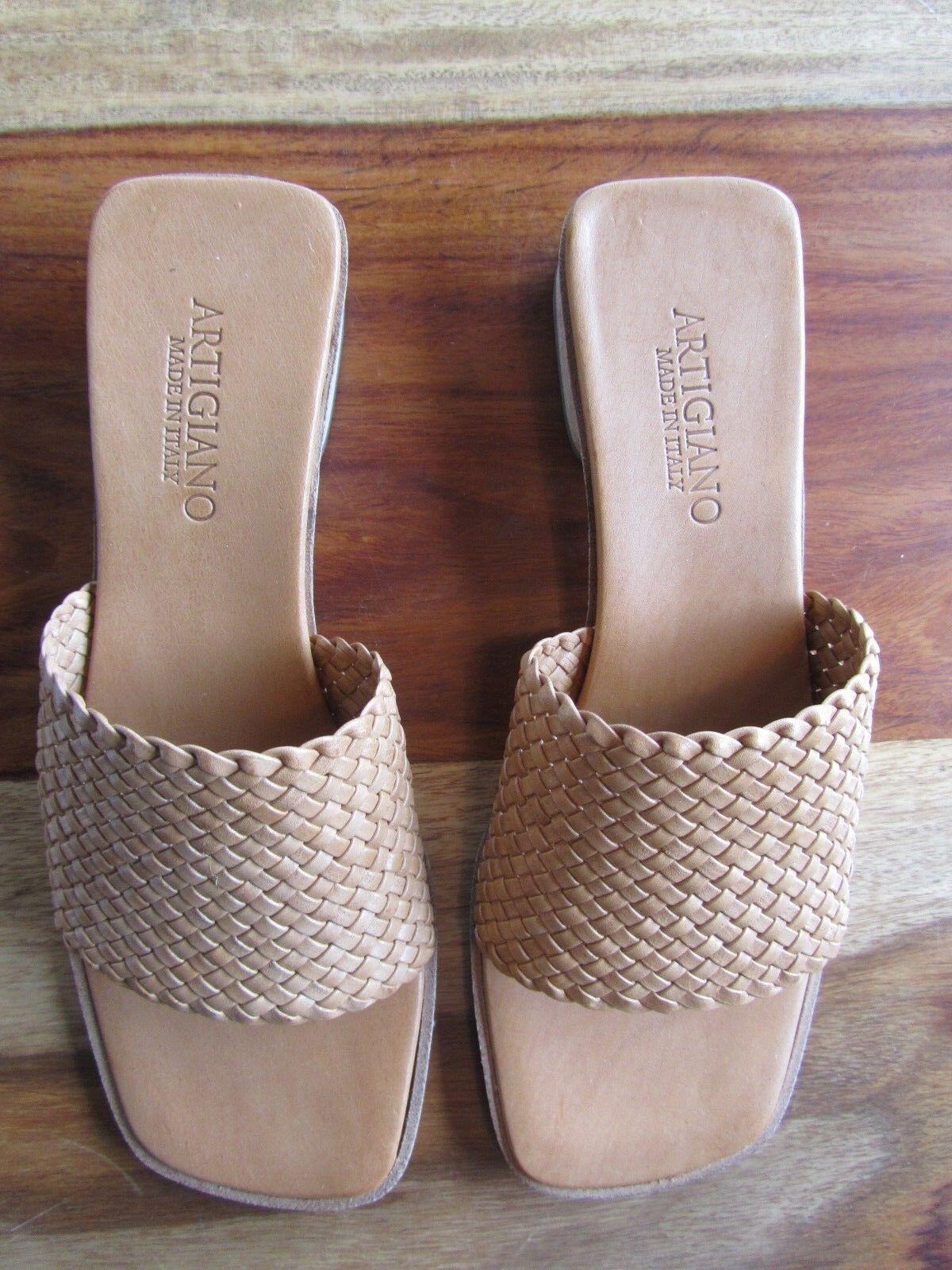 GORGEOUS ARTIGIANO SIZE Schuhe/SANDALS MADE IN ITALY SIZE ARTIGIANO 37 NATURAL 15mm HEEL 832392