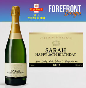 personalised champagne bottle label perfect birthday wedding