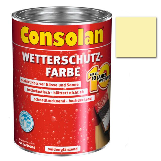 Consolan Wetterschutzfarbe nordischgelb 0,75 L Holzschutz Schutzfarbe Schutz Neu
