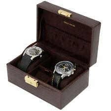 Travel Case for Watches Cufflinks Jewelry Storage Genuine Leather Brown