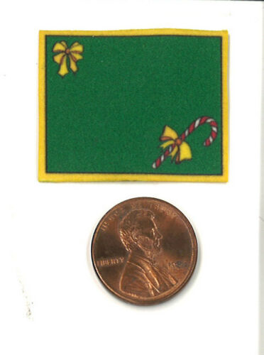 Dollhouse Miniature Christmas Place Mat in Green with Candy Cane