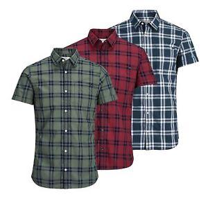 JACK-amp-JONES-Fischer-Mens-Check-Shirt-Collared-Short-Sleeve-Casual-Top