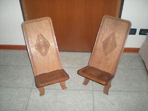 Sedia africana (coppia) in legno massiccio, lavorate ...