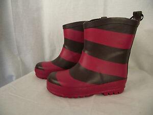 BNWT Little Girls Sz 11 Rivers Doghouse Brand Black Grey Orange Stripe Gumboots