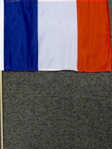 "FRANCE FLAG 12X18 12/"" X 18/"" FRENCH WOOD STICK NEW W13"