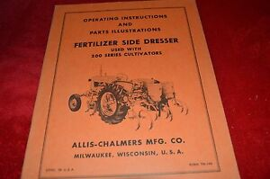 Allis Chalmers 200 Side Dresser Attachment Cultiv Parts & Operator's Manual WGOH