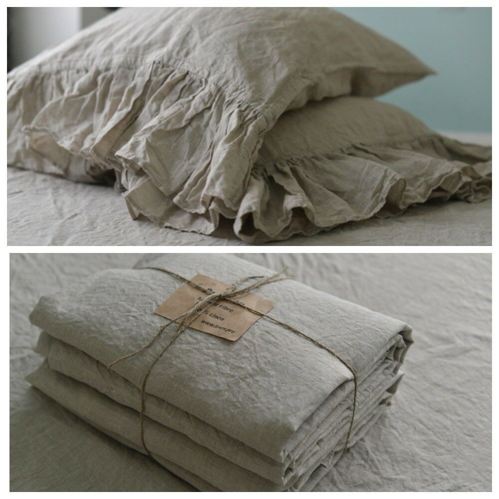 Linen SHEET SET of 4pc Stone Washed sheets and two pillowcases RUFLLE natural