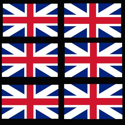 6 X Di Buone Dimensioni Union Jack, Gb Adesivo Decalcomania In Vinile Uk Veloce/gratis Uk D/19- Prestazioni Affidabili