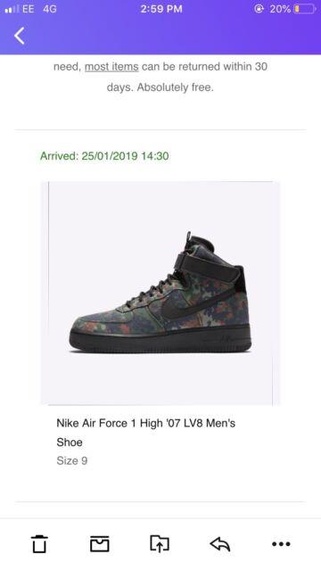 sports shoes e3b52 dcb71 NIKE Mens AIR FORCE 1 High  07 LV8 - Alligator Green Camo Trainers - uk