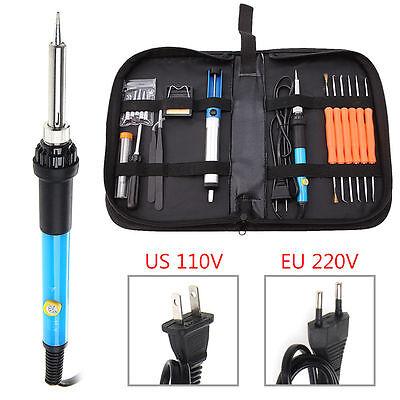 21pcs110V/220V 60W Adjustable Temperature Welding Solder Soldering Iron Tool Kit