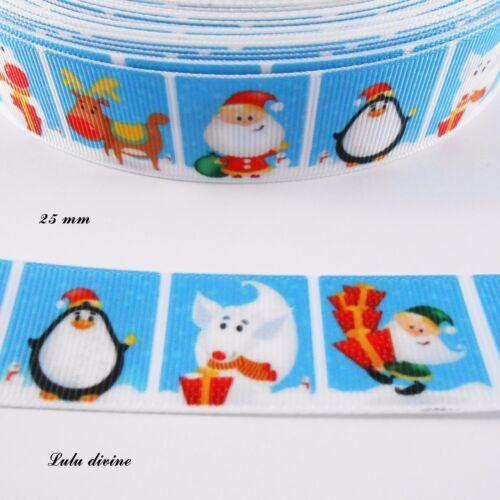 Ruban gros grain bleu carré Père noël Pingouin Lutin Ours de 25 mm vendu au m