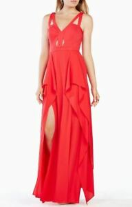 NEW-BCBG-MAX-AZRIA-LIPSTICK-RED-JULIANA-CUTOUT-RUFFLE-GOWN-WQR62H19-L420W-SZ-8